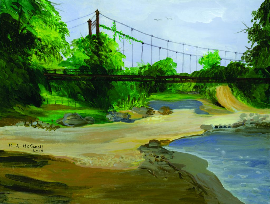 Painting of an old Bridge in La Fortuna, Costa Rica