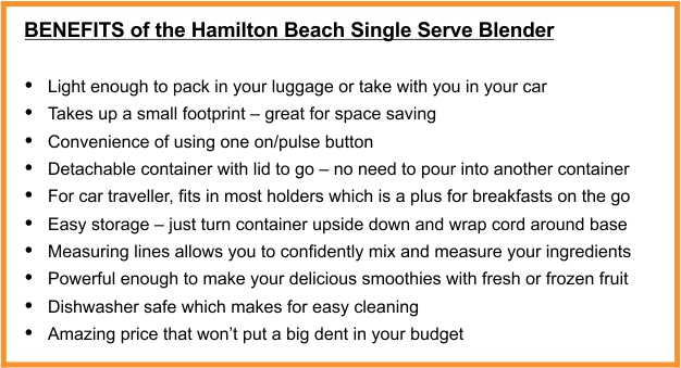 Pros of the Hamilton Beach Single Service Blender