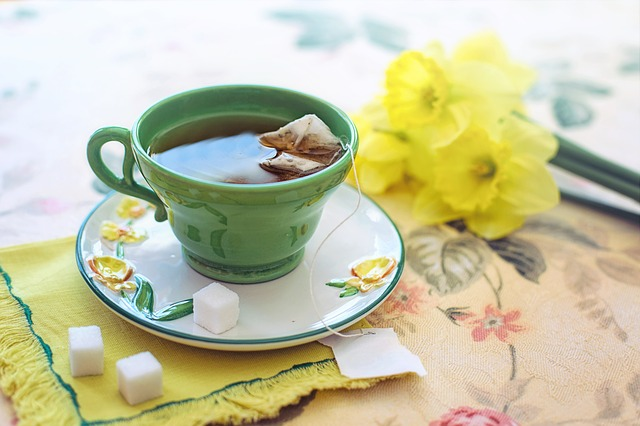 Green Tea in a cup and saucer
