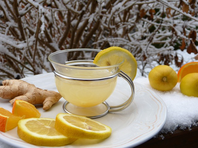 Lemon in a cup of warm water