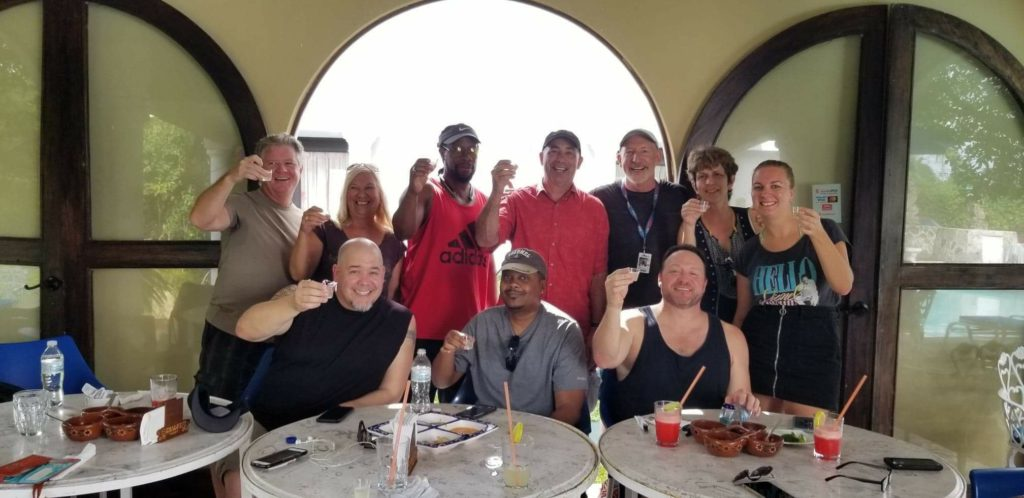 A bunch of comedians having lunch at Charos in Cozumel