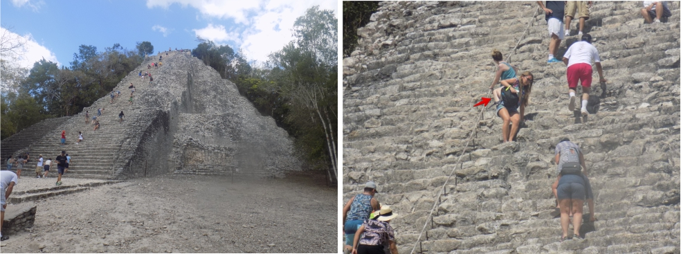 Climbing the Temple in Coba