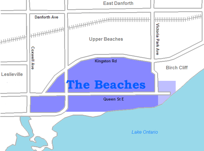 Map of The Beaches, Toronto
