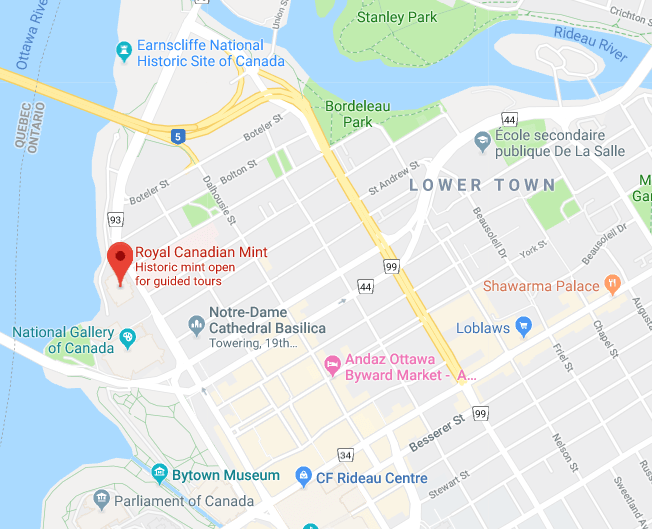 Map showing Royal Canadian Mint Ottawa