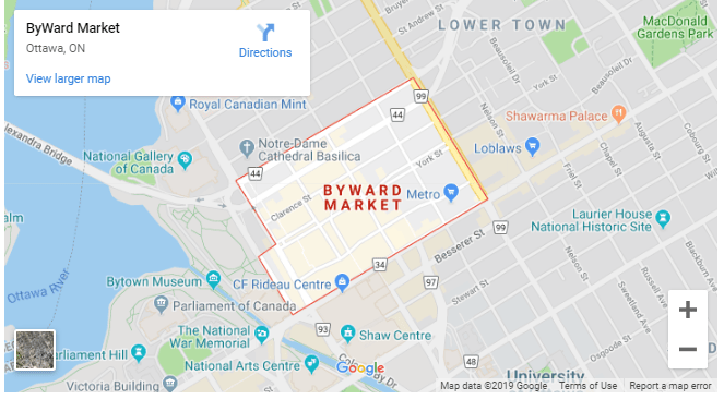 Map of the Byward Market Parking