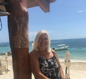 Woman, beach, boats