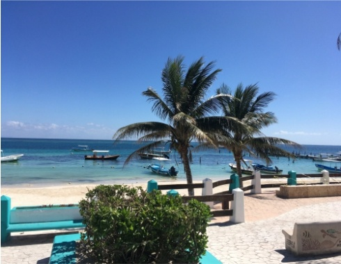 View, Beach, Puerto Morelos